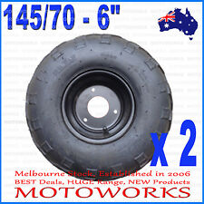 "2 x 145/70 - 6"" inch Front Rear Wheel Rim Tyre Tire Quad Dirt Bike ATV Gokart"