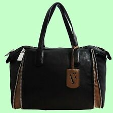 FURLA AMAZZONE  Genuine Onyx Black Leather  Satchel Carryall Bag Msrp $ 598.00
