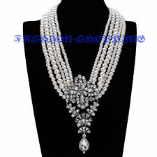 Fashion White Pearl Chain Crystal Collar Charm Statement Pendant Bib Necklace