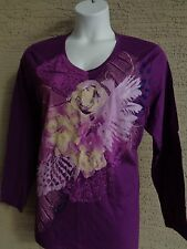 JUST MY SIZE  GLITZY GRAPHIC  L/S V NECK TEE SHIRT PLUM WITH FLOWERS  2X