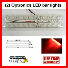 "(2) Clear/Red Truck Trailer Stop Tail Turn Bar Light 11 LED 15"" low profile"