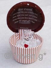 BEST FRIEND@Cute Bear Box@22ct Gold@Unique CUPCAKE KEEPSAKE Gift@HEART@Chocolat