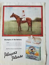 1958 Players Please Navy Out Cigarettes Ribot Horse  Jockey Champion Color Ad