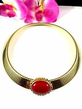 DAZZLING VTG MONET GOLDTONE RIBBED RED CABOCHON EGYPTIAN REVIVAL CHOKER NECKLACE