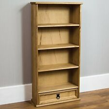 Home Discount Corona DVD Rack 1 Drawer Bookcase Storage Unit Solid Pine