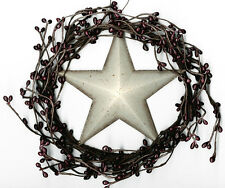 "Country Rustic 8"" Twig Pip BERRY swag WREATH metal 5"" White STAR garland Sign"