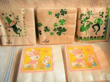 VTG EASTER AND ST PATRICKS DAY PAPER NAPKINS LOT~UNUSED & SEALED~90 NAPKINS