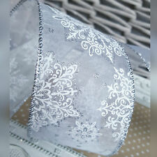 Wired White & Silver Snowflake Christmas Ribbon. Gift Bow Cake Wrap Tree. 63mm