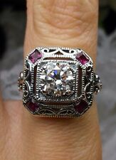 *Ruby* & White Gemstone 1930's Art Deco Sterling Silver Filigree Ring Size: 9