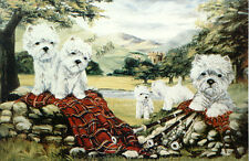 "WEST HIGHLAND WHITE WESTIE DOGS ART LIMITED EDITION PRINT - ""Highland Gathering"""