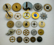 25 VTG Steampunk Gears Pocket Watch Clock Parts LOT Cogs Wheel Altered Art S M L