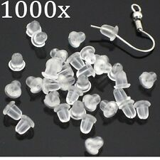 1000 x Soft Plastic Replacement Earring Backs Bullet Back Stoppers Earnuts -4mm