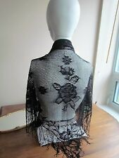 Black Knitted Lace Mantilla Vintage Wrap Church Veil Scarf Piano Shawl Japan