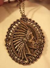 Lovely Swirl Rim Brasstone Indian Chief Feather Head Dress Necklace Brooch Pin