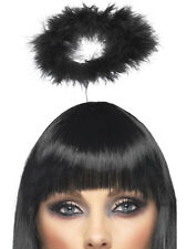 BLACK FEATHER HALO DARK FALLEN ANGEL FAIRY GOTH MARABOU COSTUME HEADBAND HALO