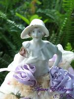 Antique German China & FW PEARLS Pin cushion Half Doll