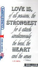 New CLING Deep Red Rubber Stamp Voltaire quote re LOVE passion Free USA ship