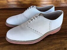 Vintage Men's Johnston & Murphy Saddle Shoes White Suede Buck 8 D Made In USA