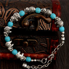 23CM Tibetan Silver Turquoise Stone Beads Elephant Bangle Bracelet Jewelry