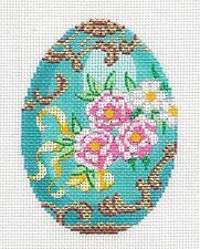 LEE Jeweled Egg Turquoise & Pink Roses elegant handpainted Needlepoint Canvas