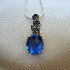 5.39ct Colour Change Fluorite & Blue Diamond White Gold Pendant