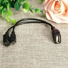 USB Female To Micro Male + Female HOST OTG Power Y Splitter Cable Adapter
