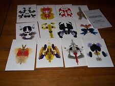 RORSCHACH NEW SET OF 12 COLOURED INK BLOT TEST CARDS