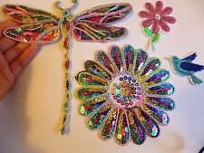 4 dragonfly flower bird sequin applique patch motif iron sew on embellishment UK