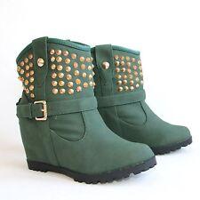 Stiefeletten 40 Grün Versteckter Keilabsatz Wedges Damen Boots Stiefel H197