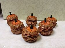 6 mini Wicker seagrass Pumpkin Baskets Thanksgiving Place card holder treat box