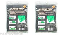 (2)Light Duty Green Tarp Cover 4' X 6' Poly Vinyl Shelter Camping Survival Kit
