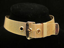 "Amazing Vtg 15""x1"" Gold Tone Mesh Buckle Statement Choker Necklace A1"