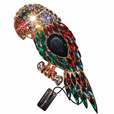Stunning Huge Reprodaction Parrot Brooch by Replica Collection