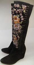 Free People penny lane Wo's EU36 US6/5.5 Black Suede Floral Zip Wedge Boots new