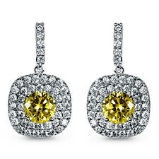 White Gold Filled Yellow Topaz Swarovski Crystal Bridal Square Drop Earring IE59