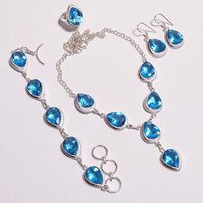Fabulous swiss sky blue topaz necklace bracelet earring ring set .925 silver