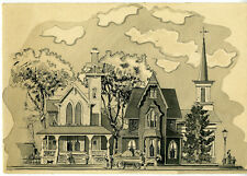 Wonderful 1920s Ink & Watercolor Drawing of Bucolic Victorian Scene w/ Homes