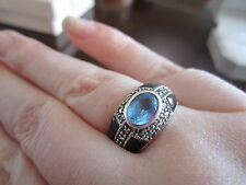Blue Topaz Marcasite and Black Enamel Sterling Silver Size 8 ring with Box