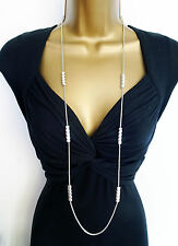 "Stunning 38"" Long Antiqued Silver Tone Snake Chain Necklace with Beading"