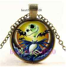 Vintage Nightmare Before Christmas Jack Cabochon Glass Bronze Necklace