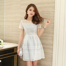Korean Fashion Hollow Out Short Sleeve Mini Summer Dress