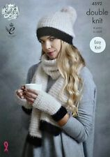 KNITTING PATTERN Ladies Easy Knit Hat Scarf & Fingerless Mitts DK King Cole 4592