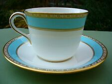 Two Sets Royal Crown Derby FIfth Avenue Cups & Saucers White Aqua (4 More Avail)