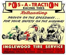 Pos-A-Traction Racing Tires Vintage Classic Window Decal NHRA