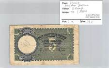 BILLET ALBANIE - OCCUPATION ITALIENNE - 5 FRANGA (1939)
