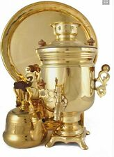 Russian Samovar HANDPAINTED ART Trio Electrical Samovar Tea Pot Tray set 3 in 1