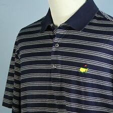 The Masters Collection Mens L Augusta National Golf Shirt Pima Blue Gray Stripe