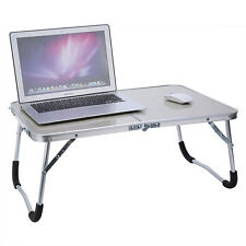 US Foldable Laptop Table Tray Desk Stand Bed Sofa With Table Top&Aluminum F