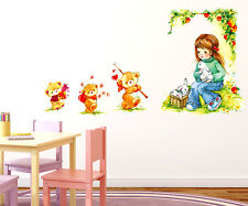 Wall Stickers Baby Girl Cartoon Under A Tree with Teddy Bears For Kids  57000237