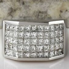 HEAVY  5.65Ct Natural Diamond 14K Solid White Gold Men's Ring